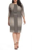 Gabby Skye Plus Size Women's Stripe Knit Sheath Dress