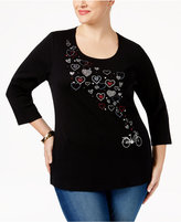 Karen Scott Plus Size Heart Graphic Top, Only at Macy's