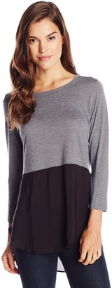 Vince Camuto Women's Long Sleeve Essential Mixed Media Crew Neck Tunic