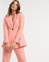 Asos Design DESIGN pleat waist suit blazer in peach