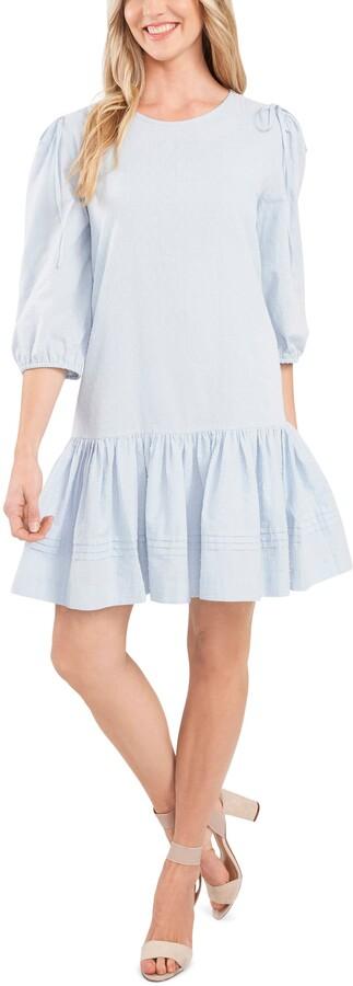 CeCe Clip Dot Drop Waist Dress