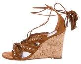 Aquazzura Fringe-Trimmed Wedge Sandals