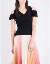 Maje Marion stretch-knit cold-shoulder top