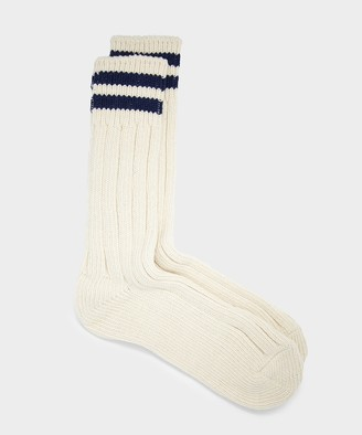RoToTo Low Raw Sock 2 Stripe in Ecru/Navy