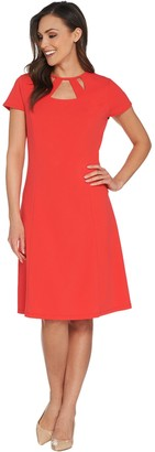 Dennis Basso Luxe Crepe Dress with Cut-Out Neck & Back Zipper