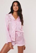 Missguided Pink Striped Satin Short Pyjama Set