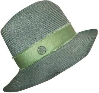 Maison Michel Green Wicker Hats