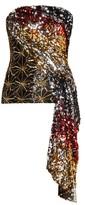 Halpern Sequinned Asymmetric-draped Bustier Top - Womens - Gold Multi