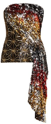 Halpern Sequinned Asymmetric-draped Bustier Top - Gold Multi