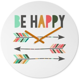 Deny Designs Chelcey Tate Be Happy Round Clock