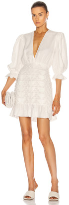 Adriana Degreas Linen Puff-Sleeves Short Dress With Application in Off White | FWRD