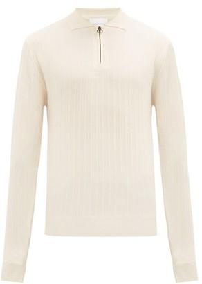 King & Tuckfield - Long-sleeved Jacquard-knit Wool Polo Shirt - Mens - Cream