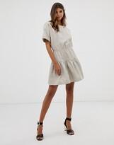 Asos Design DESIGN casual cotton gathered waist tiered mini dress
