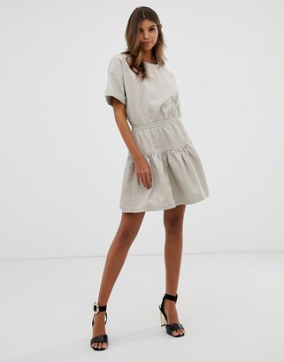 Asos Design DESIGN casual cotton gathered waist tiered mini dress-Beige