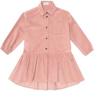 BRUNELLO CUCINELLI KIDS Embroidered corduroy shirt dress