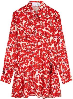 Natasha Zinko Red floral-print satin mini dress