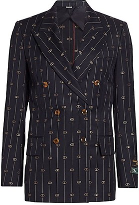Gucci Retro GG Thin Stripe Wool Double-Breasted Boxy Jacket