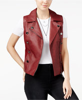 XOXO Juniors' Button-Trim Faux-Leather Moto Vest