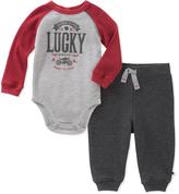 Lucky Brand Red & Gray Raglan Bodysuit & Joggers - Infant