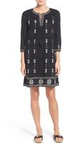 Caslon Three-Quarter Sleeve Embroidered Shift Dress (Petite)