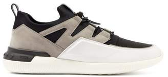 Tod's Nubuck Panelled Drawstring Technical Trainers - Mens - White Multi