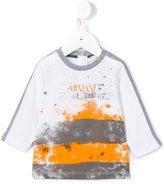 Armani Junior brush stroke print T-shirt