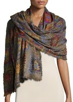 Faliero Sarti Presine Tile-Print Wool-Blend Scarf, Multicolor