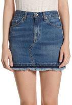 Rag & Bone Dive High-Rise Cotton Mini Skirt With Frayed Hem