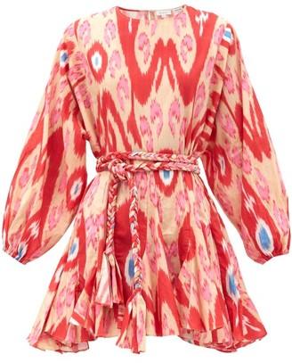 Rhode Resort Ella Belted Ikat-print Cotton Mini Dress - Red Print