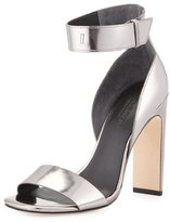 Halston Marylan Mirrored-Leather Sandal, Anthracite