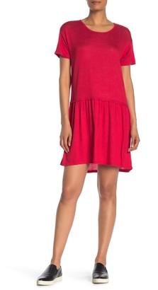 Bobeau Drop Waist Flounced T-Shirt Dress