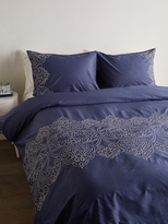 Melange Home Filigree Embroidered Cotton Duvet Cover Set