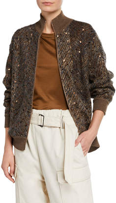 Brunello Cucinelli Chevron Sequined Mohair Jacket