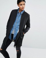 Only Longline Bomber Jacket with Fleece Lining