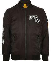 River Island Boys black padded badge bomber jacket