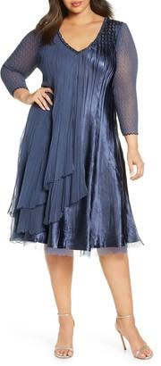 Komarov Beaded Chiffon & Charmeuse A-Line Dress