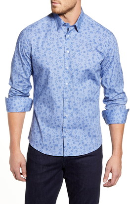 Stone Rose Regular Fit Floral Zigzag Strip Button-Up Sport Shirt