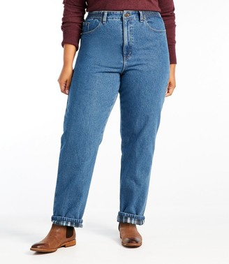 L.L. Bean Women's Double L Jeans, Relaxed Comfort Waist Flannel-Lined