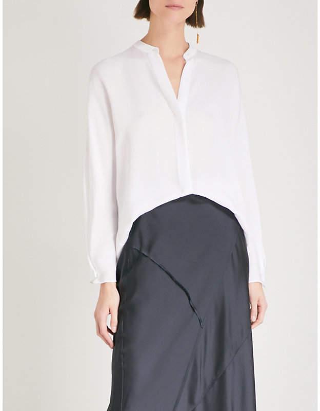 Vince Band-collar silk shirt