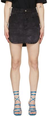ATTICO Black Rounded Hem Miniskirt