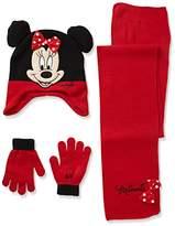 Disney Girl's Minnie Mouse Polka Dot Bow Hat & Glove Set