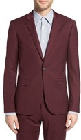 Topman Men's Burgundy Slim Fit Suit Jacket