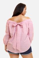 Fashion to Figure Nina Striped Off Shoulder Blouse
