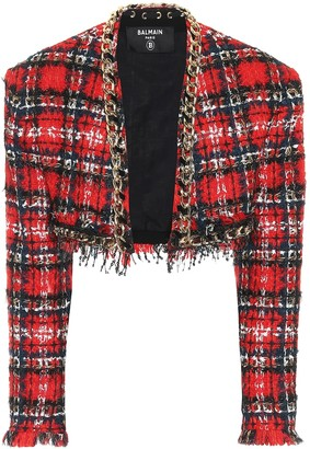 Balmain Checked tweed bolero jacket