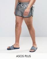 Asos PLUS Runner Swim Shorts In Silver Metallic Short Length