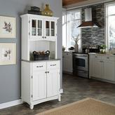 Home Styles Two-Drawer 31.25 in. W White Buffet with Stainless Top and Hutch