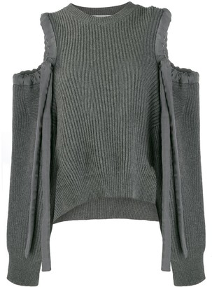 Stella McCartney drawstring cold shoulder jumper