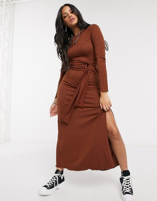 Stradivarius belted knit dress with split detail in brown