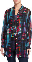 Go Silk Bright Lights Printed Silk Mandarin-Collar Tunic