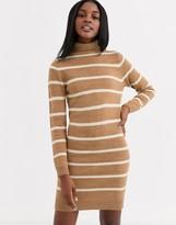 Brave Soul roll neck contrast stripe sweater dress in camel